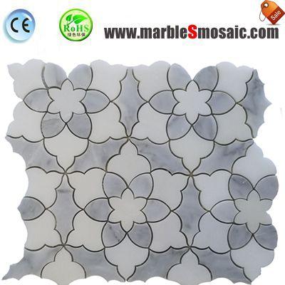 Tuile de mosaïque en marbre grise de fleurs