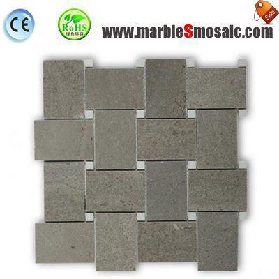 Grey Marble Wall Basketweave Mosaic