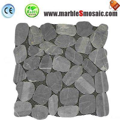 Grid Pebble Black Marble Mosaic