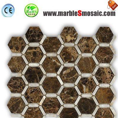 Hexagon Dark Emperador Mosaic Sheet