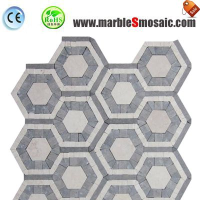 Hexagon Grey Marble Floor Mosaic