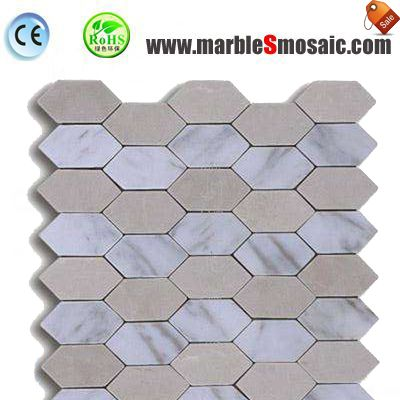 Hexagon White Beige Marble Mosaic
