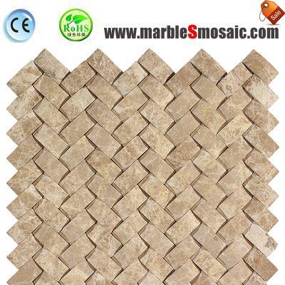 Light Emperador Marble Basketweave Mosaic