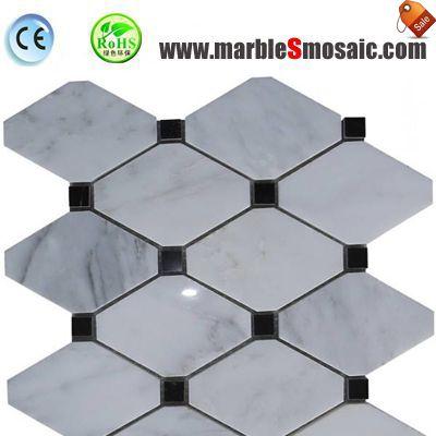 Octagon White Marble Floor Mosaic