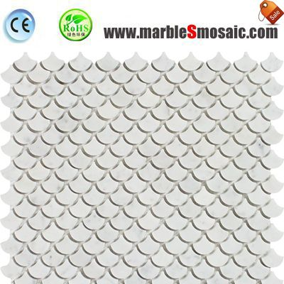 Pure White Marble Fish Scale Mosaic