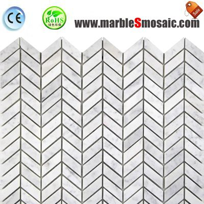 Wheat Head Chevron Carrara Mosaic