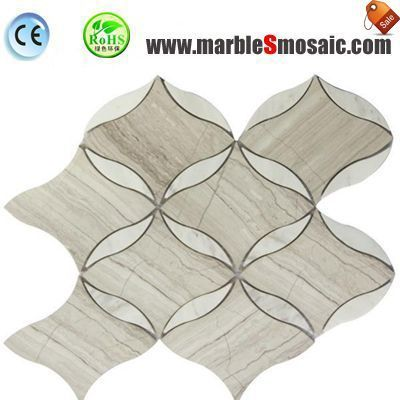 Wood Grey Flower Marble Mosaic
