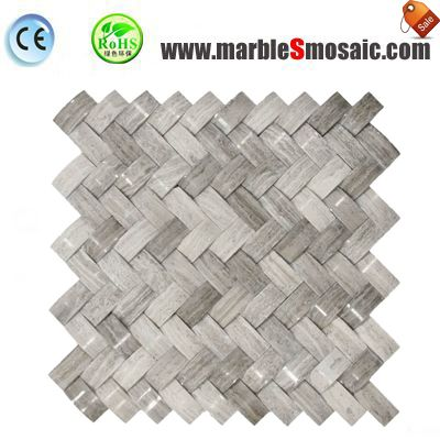 Wood Grey Marble Basketweave Mosaic