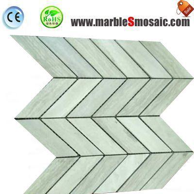 Wooden White Chevron Marble Mosaic