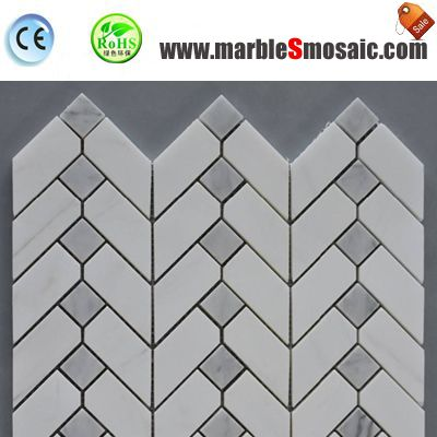 Chevron Carrara gemischt Mosaik Bad