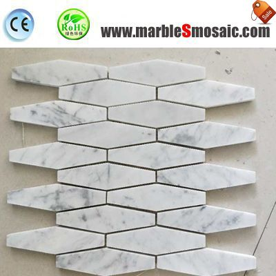 Hexagon Bianco marble and mosaic tiles