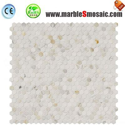 Hexagon White Marble Mosaic Chips