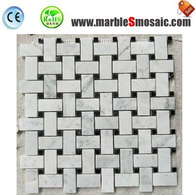 Basketweave Stone Mosaic Bathroom Floor