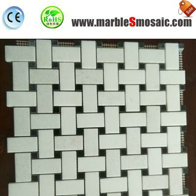 Basketweave White Brick Marble Mosaic