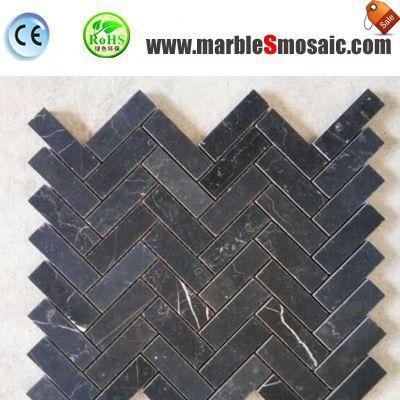 Мозаичная плитка черный природных Кирпич мраморный