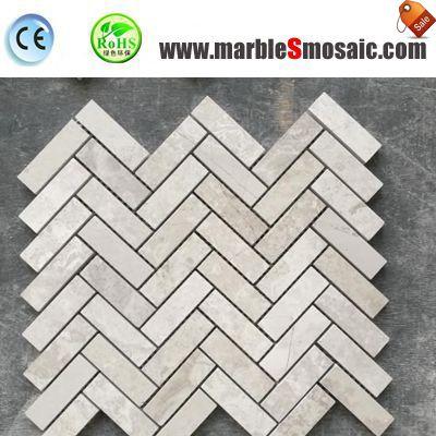 Серый Шеврон мозаичные мраморные полы