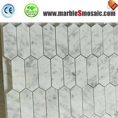 Hexagon Carrara Marble Brick Mosaic