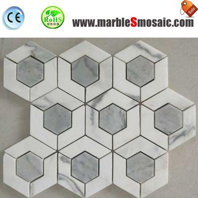 Hexagon Carrara Mosaic White Tiles