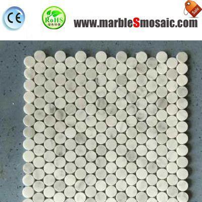 Penny redondo patrones piedra mosaico blanco
