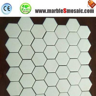 Белый цвет мозаики мраморная Backsplash Плитка