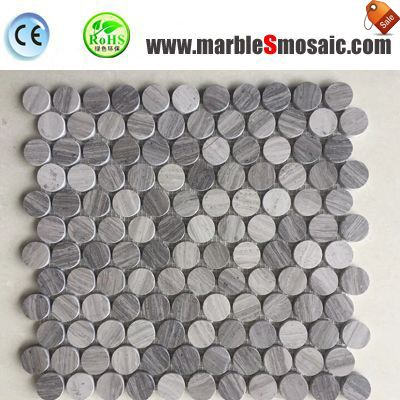 Wooden Marble Penny Round Mosaic Tiles