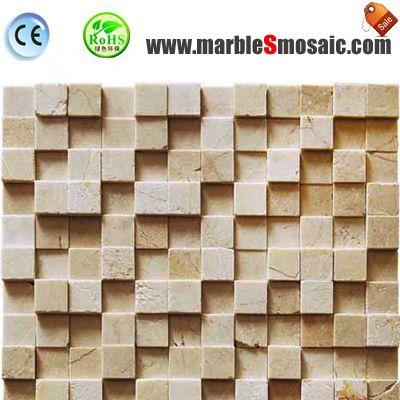 3D Bricks Beige Marble Mosaic Bathroom