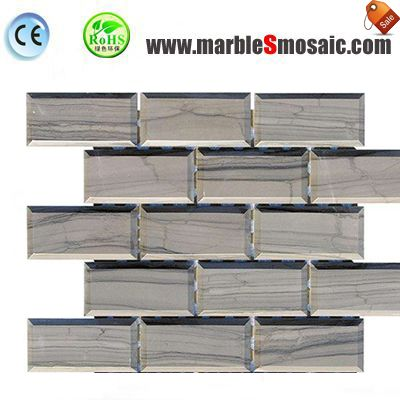 3D Bricks Wooden Grey Marble Mosaic