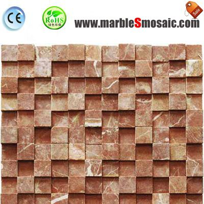 3D Red Marble Mosaic Wall Tiles