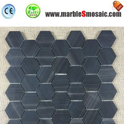 Antique Wood Black Marble Mosaic Hexagon