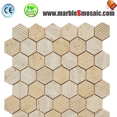 Hexagone mosaïque de salle de bain Travertin beige