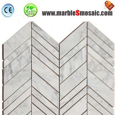 Bianco Carrara Marble Chevron Mosaic
