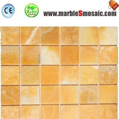 Bricks Yellow Onyx Mosaic Sheet