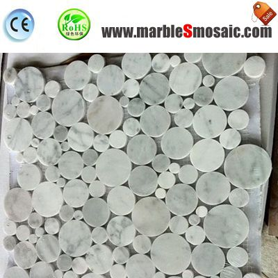 Bubble Round White Carrara Mosaic Sheet