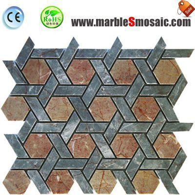 China Red Marble Mosaic Hexagon Net