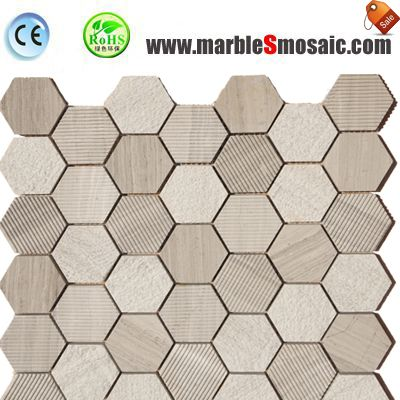 Chinese Wood Marble Mosaic Hexagon