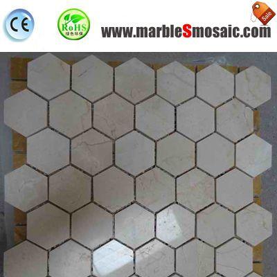 Crema Marfil Marble Mosaic Hexagon Tiles
