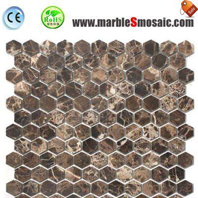 Dark Emperador Marble Mosaic Hexagon