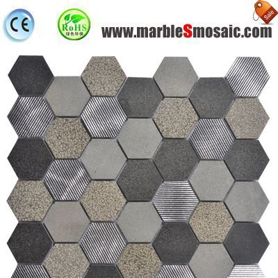Dark Stone Hexagon Mosaic Piece