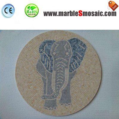Elefante de agua Jet piso de mosaico de mármol