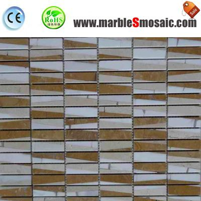 Glossy Beige Marble Mosaic Bricks