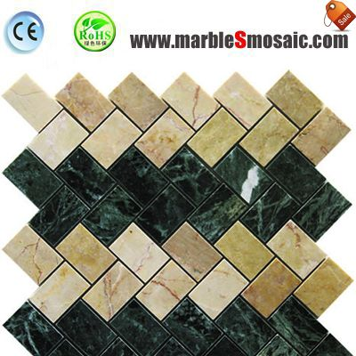 Green And Beige Marble Herringbone Mosaic