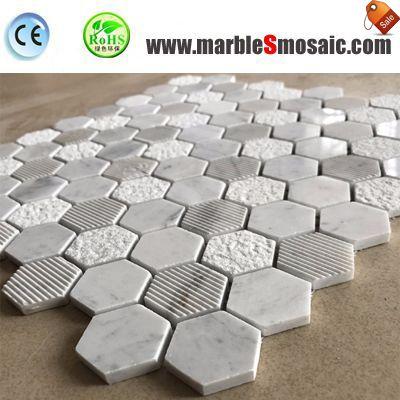 Hexagon Carrara White Bath Mosaic