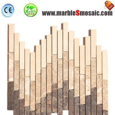 Musical Strip Beige Marble Mosaic Tile
