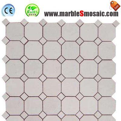 Achteck Beige Marmor Mosaik Bad