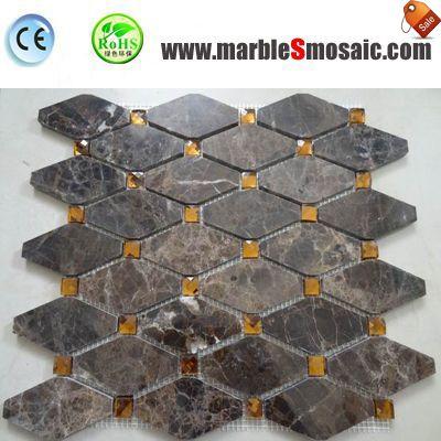 Octagon Emperador Marble Mosaic Wall