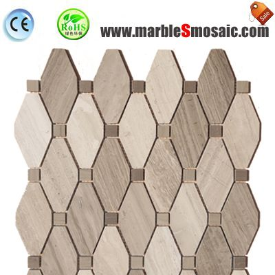 Octagon Wood Grey Marble Mosaic Tiles