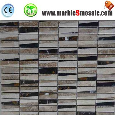 Rectangle de brique Beige mosaïque de marbre poli