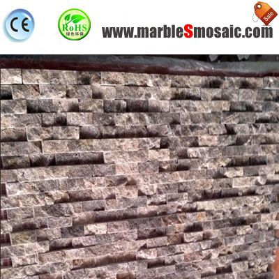 Split Dark Emperador Mosaic Wall Tile