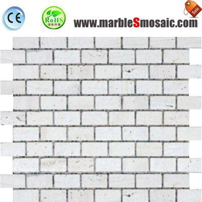 White Travertine Bricks Mosaic Bathroom