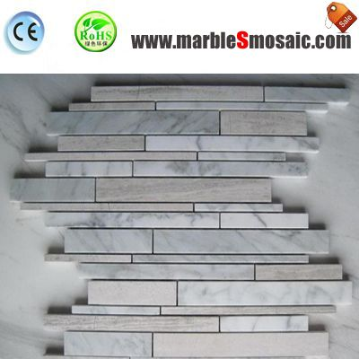 Wooden White And Carrara Marble Mosaic